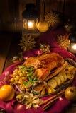 圣诞节鹅晚餐 库存照片