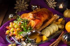 圣诞节鹅晚餐 免版税库存图片