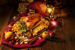 圣诞节鹅晚餐 库存图片