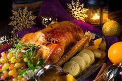 圣诞节鹅晚餐 免版税图库摄影