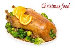 圣诞节鹅烘烤 免版税库存图片