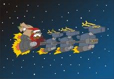 圣诞节鹿他的圣诞老人系列雪撬 库存图片