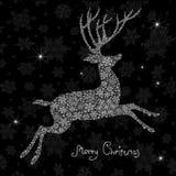 圣诞节鹿剪影。 库存照片