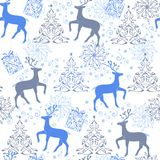圣诞节鹿,装饰树 传染媒介无缝的装饰品backdr 免版税库存照片