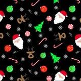 圣诞节黑地面无缝的样式 库存例证