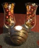 圣诞节,与杉木分支的银色蜡烛 免版税库存照片
