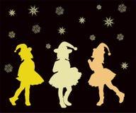 圣诞节,例证,树,动画片,剪影,妇女, xmas,假日,动物,雪,人们,马,冬天,设计,愉快,艺术, 免版税图库摄影
