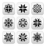 圣诞节,冬天被设置的雪花按钮 免版税库存图片