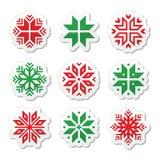 圣诞节,冬天被设置的雪花象 免版税库存照片