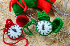 圣诞节,手工制造时钟, xmas,礼物,时间 免版税库存照片