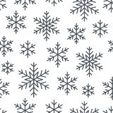圣诞节,新年无缝的样式,雪花线例证 导航寒假象,冷的季节雪