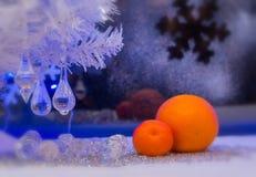 圣诞节,桔子,墙纸 在老图象样式的照片 免版税库存照片