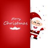 圣诞节,邀请庆祝卡片,与落的五彩纸屑的党,海报横幅设计,逗人喜爱的圣诞老人项目卡通人物 皇族释放例证