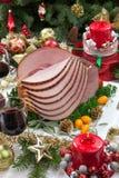 圣诞节给上釉的火腿 免版税库存照片