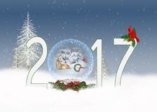 圣诞节2017与主教和雪人的雪地球 免版税库存图片