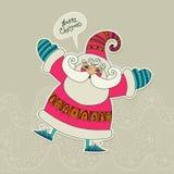圣诞节 与滑稽的圣诞老人的快活的xmas传染媒介卡片 幽默 逗人喜爱 免版税库存照片