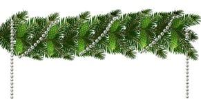 圣诞节 以lambrequins的形式新年s装饰与锥体和小珠 在白色的绿色树枝 向量例证