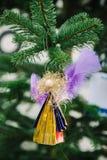 圣诞节从使用的塑料的天使玩具 免版税图库摄影