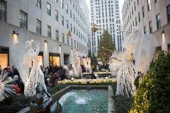 圣诞节洛克菲勒结构树 图库摄影