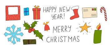 圣诞节贺卡的传染媒介例证 免版税库存图片
