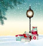 圣诞节贺卡,有葡萄酒的礼物盒 免版税库存照片