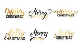 圣诞节 圣诞节设计的印刷商标集合 手letetring的书法圣诞快乐 向量例证