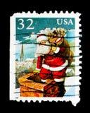 圣诞节-在烟囱, serie的圣诞老人,大约1995年 免版税库存照片