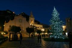 圣诞节2013年在陶尔米纳(西西里岛) 免版税库存图片