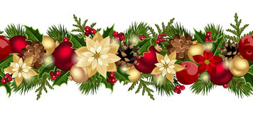圣诞节水平的无缝的背景。 免版税库存图片