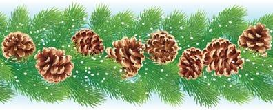 圣诞节水平的无缝的背景 免版税库存图片