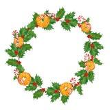 圣诞节水彩花圈用桔子、棒棒糖、霍莉莓果和叶子在白色背景 拉长的现有量 库存照片