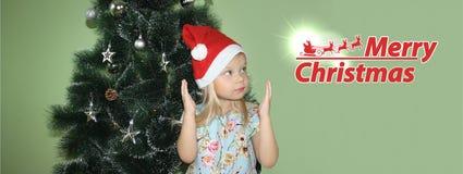 圣诞节 新的Year&的x27女孩; s盖帽 免版税库存照片