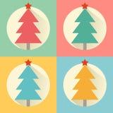 圣诞节(新年)树平的设计象集合 库存例证