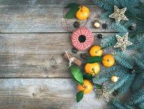 圣诞节(新年)被设置的装饰背景:毛皮树branche 免版税库存照片