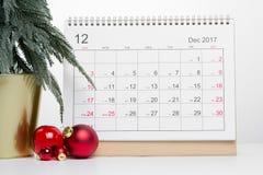 圣诞节12月日历2017年 库存照片