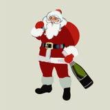 2017年 圣诞节 有一个瓶的圣诞老人香槟在手中 新年度 向量 免版税库存图片