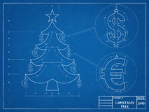 圣诞节-树图纸 库存照片