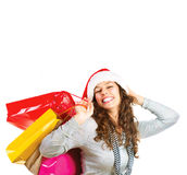 圣诞节购物。 销售额 免版税图库摄影