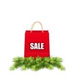 圣诞节购物与冷杉分支的销售袋子 库存例证