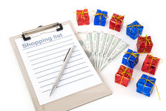 圣诞节购物单 免版税库存照片