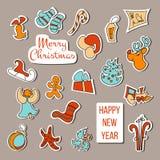 圣诞节贴纸传染媒介 圣诞节集合海报 库存图片