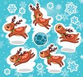 圣诞节贴纸集合 驯鹿圣诞老人 免版税库存照片