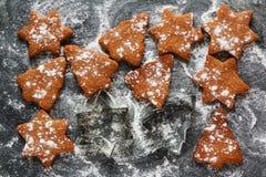 圣诞节黑背景用糖粉和棕色巧克力和姜曲奇饼在冷杉木和星,顶视图形状  库存图片