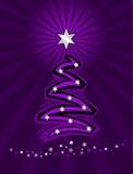 圣诞节紫色风格化结构树 库存图片
