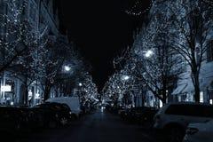 圣诞节巴黎街道 免版税库存照片