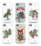 圣诞节 被设置的手机盖子 冬天鸟 免版税库存图片