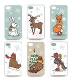 圣诞节 被设置的手机盖子 冬天 免版税图库摄影