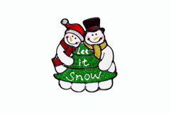 圣诞节-雪人和树窗口钢板蜡纸 库存图片