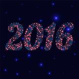 圣诞节以雪花和星的形式2016个数字 免版税库存图片
