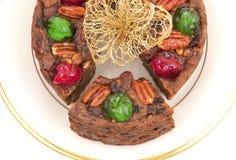 圣诞节从顶视图的果子蛋糕 免版税库存图片